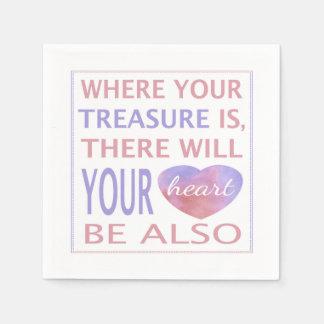 Là où votre trésor est là votre coeur sera serviettes jetables