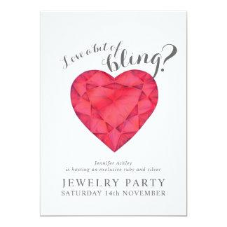 La partie de bijoux invite l'amour rouge bling carton d'invitation  12,7 cm x 17,78 cm