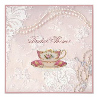 La perle rougissent invitation nuptiale de thé de