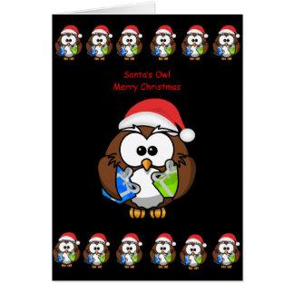 La personne de hibou de carte de voeux de Noël