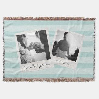 La photo de collage d'Instagram de mariage encadre Couvre Pied De Lit