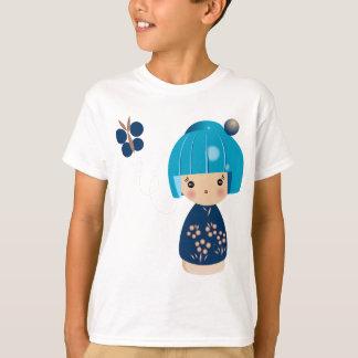 La pièce en t de Kokeshi des enfants bleus de T-shirt