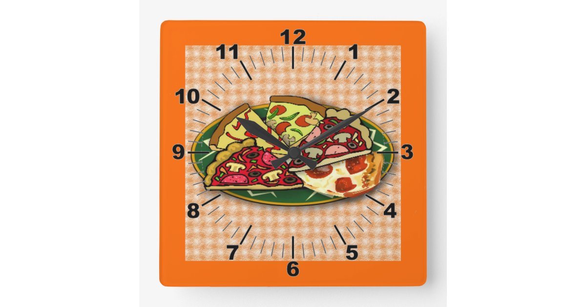 la pizza d coupe l 39 horloge murale en tranches horloge carr e zazzle. Black Bedroom Furniture Sets. Home Design Ideas