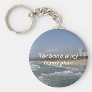 La plage est mon endroit heureux porte-clé rond
