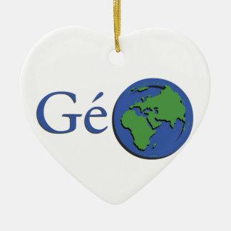 la planète terre - géographie ornement cœur en céramique