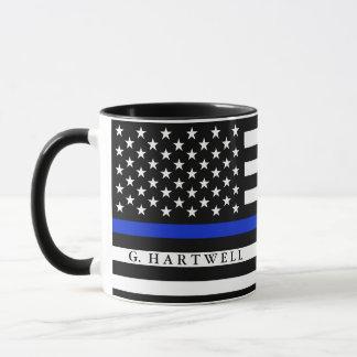 La police a dénommé le nom de coutume de drapeau mug