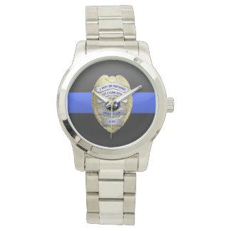 La police retirée drôle mince de Blue Line Badge Montres Bracelet