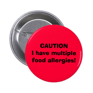 La PRÉCAUTION I ont des allergies alimentaires mul Badge Rond 5 Cm