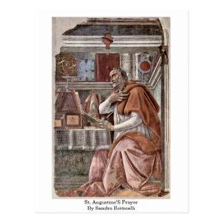 La prière de St Augustine par Sandro Botticelli Carte Postale