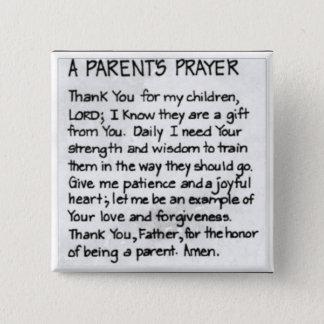 La prière d'un parent badge carré 5 cm