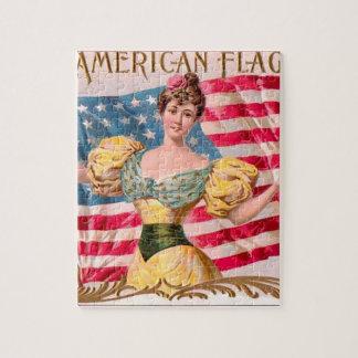 La publicité vintage de drapeau américain puzzle