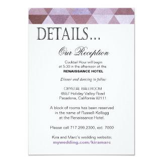 La réception géométrique de triangles détaille le carton d'invitation  11,43 cm x 15,87 cm