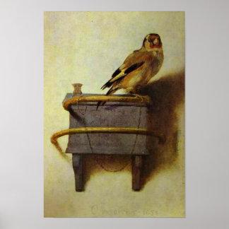 La reproduction de peinture de chardonneret poster