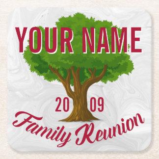 La Réunion de famille personnalisée par arbre Dessous-de-verre Carré En Papier