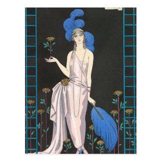 La robe de soirée de rose par George Barbier Carte Postale