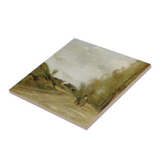 La route dans Gouvieux par Camille Corot Carreau