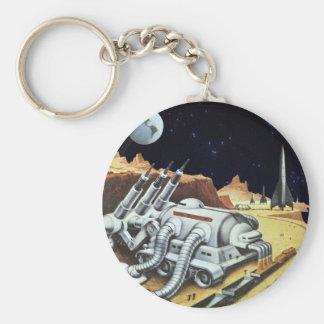 La science-fiction vintage, station spatiale sur porte-clés
