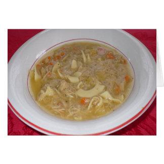 La soupe de nouilles de poulet obtiennent la carte
