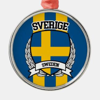 La Suède Ornement Rond Argenté