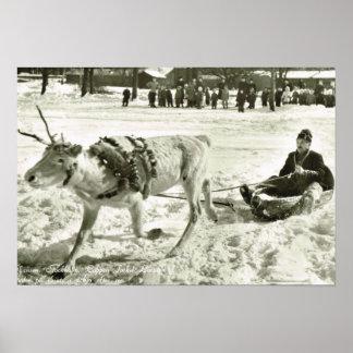 La Suède vintage, traîneau de renne, musée