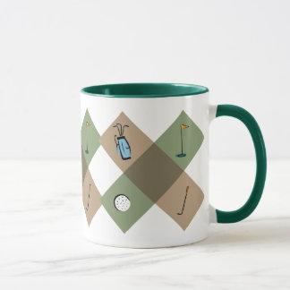 La tasse de café de motif de golfeur