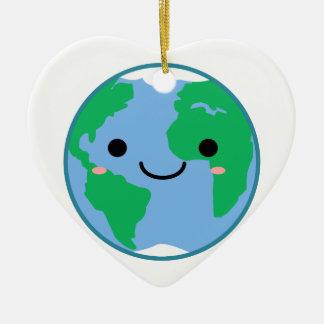 La terre de planète de Kawaii Ornement Cœur En Céramique