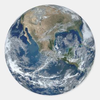La terre de planète de l'espace sticker rond
