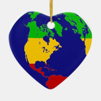 La terre de planète de Rasta Ornement Cœur En Céramique