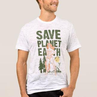 La terre de planète d'économies de femme de t-shirt