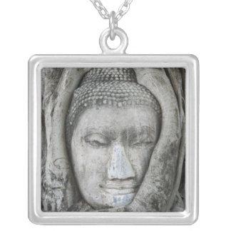 La tête de grès de Bouddha a entouré par l'arbre Collier