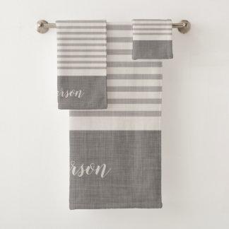 La toile grise de ferme barre le monogramme
