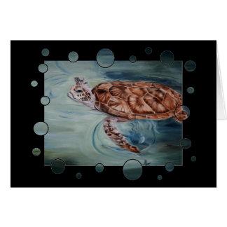 La tortue de mer verte bouillonne carte vierge