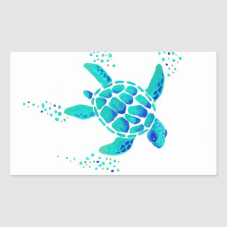 La tortue de Neptune Sticker Rectangulaire