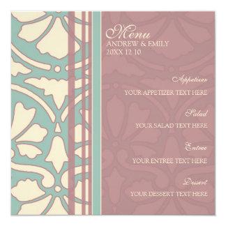 La turquoise de menu de mariage et s'est levée carton d'invitation  13,33 cm
