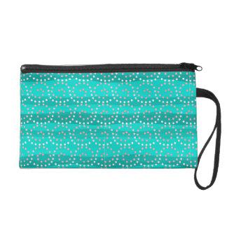 La turquoise et le corail ondule le bracelet/sac pochettes avec dragonne