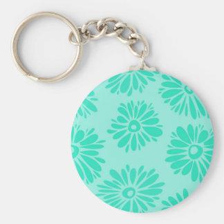 La turquoise fleurit le porte - clé porte-clé rond