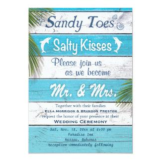 La turquoise Sandy botte des baisers salés Carton D'invitation 12,7 Cm X 17,78 Cm