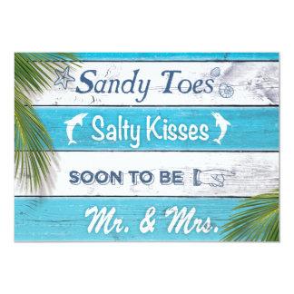 La turquoise Sandy botte la partie de fiançailles Carton D'invitation 12,7 Cm X 17,78 Cm