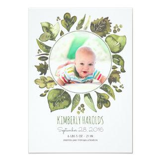 La verdure tressent la naissance nouveau-née carton d'invitation  12,7 cm x 17,78 cm