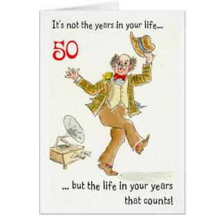 """La """"vie cinquantième carte d'anniversaire pendant"""