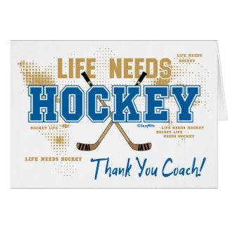 La vie de car d'hockey de Merci a besoin d'hockey Carte De Vœux