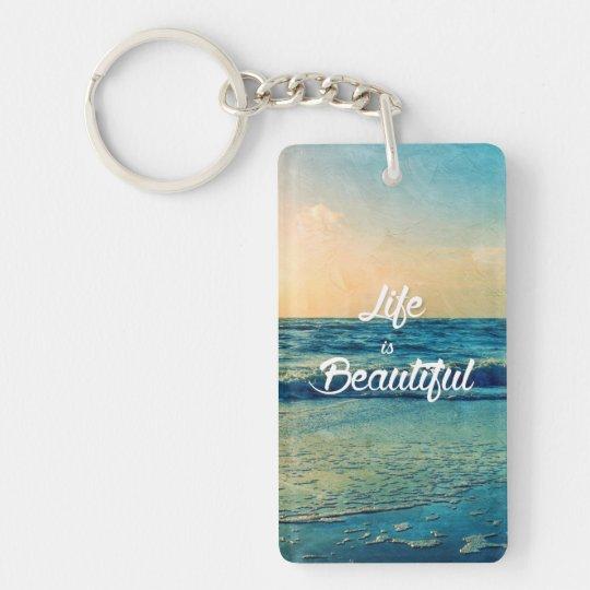 La vie est belle porte-clé  rectangulaire en acrylique une face