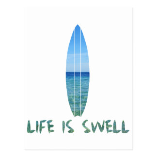 La vie est conception de panneau de surf de bosse carte postale