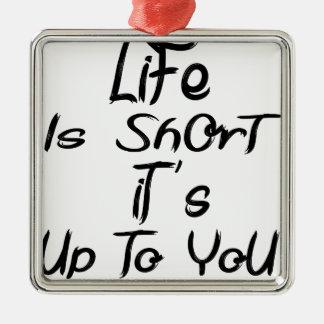 la vie est courte ornement carré argenté