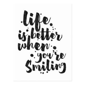 La vie est meilleure en souriant - carte inspirée