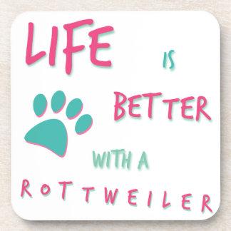 La vie est un meilleur rottweiler dessous-de-verre
