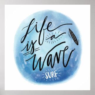 La vie est une typographie d'aquarelle de panneau