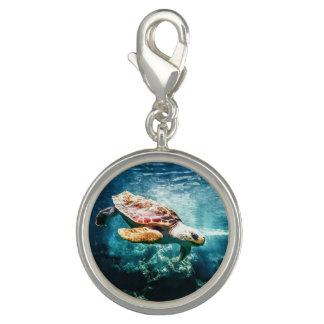 La vie sous-marine merveilleuse de tortue de mer breloque avec photo