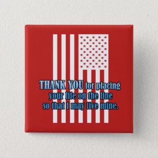 La vie sur la ligne bouton de jour de vétérans badge carré 5 cm