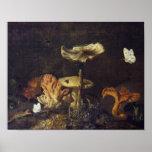 La vie toujours avec des champignons et des papill posters